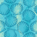Vector seamless pattern with dotted Sea shell or Scallop on the blue background. Maritime. Marine and aquatic theme. Royalty Free Stock Photo