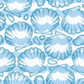 Vector seamless pattern with dotted Sea shell or Scallop in blue, pebbles and waves. Marine and aquatic theme. Royalty Free Stock Photo
