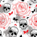 Vector seamless pattern with dotted skull, open roses, arrows, butterflies and blots in red and black and gray on the white.