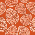 Vector seamless pattern with easter eggs with doodle pattern. Black doodle symbols of a happy holiday on a white background