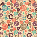 Vector seamless pattern with education icons and science abstract background in flat style Royalty Free Stock Images