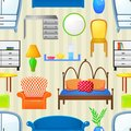 Vector seamless pattern with elements furniture in realistic style Royalty Free Stock Image