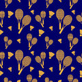 Vector seamless pattern with elements of orange rackets and birdies