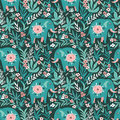 Vector seamless pattern with elephants in the jungle. Tropical background for fabric or wallpaper