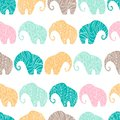 Vector pattern with elephants on white background