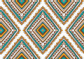 Vector seamless pattern with ethnic tribal ornamental rhombuses . Boho and hippie stylish background. Royalty Free Stock Photo