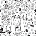 Vector seamless pattern with faces dogs and traces monochrome b animal background Royalty Free Stock Image