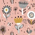 Vector seamless pattern with fancy flowers.