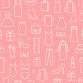 Vektor bezešvý vzor z móda dámské oblečení