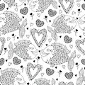 Vector seamless pattern with fish and ornate heart on the white. Design and holiday symbols in contour style for Valentine day.