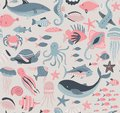 stock image of  Vector seamless pattern with fish and sea animals