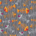 Vector seamless pattern of fish skeletons multi colored on an abstract background water and algae Royalty Free Stock Photography