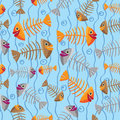 Vector seamless pattern of fish skeletons multi colored on an abstract background water and algae Stock Images