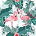 Vector seamless pattern of flamingo, leaves monstera. Tropical l