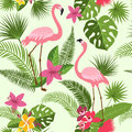 Vector seamless pattern with flamingo, tropical flowers and palm tree. Summer hawaiian background Royalty Free Stock Photo