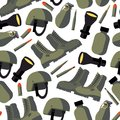 Vector seamless pattern with flat army goods like helmet, flask, flashlight, military boots and bullets on white background. Flat Royalty Free Stock Photo