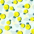 Vector seamless pattern with flat light bulbs. Simple background with yellow bulb. Minimalist vector design Royalty Free Stock Photo