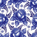 Vector seamless pattern with floral motif in traditional Russian style Gzhel on the white background. Royalty Free Stock Photo