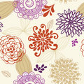 Vector Seamless Pattern of Flowers and Leaves Royalty Free Stock Images