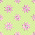 Vector seamless pattern with flowers polygon art Stock Photos