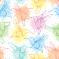 Vector seamless pattern with flying Hummingbird or Colibri in contour style and blots in pastel color on the white background.