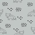 Vector seamless pattern with foxes. Decorative background for design of a children`s room and clothes