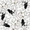 Vector seamless pattern with french bulldog and traces animal background endless cute Royalty Free Stock Images
