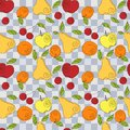 Vector seamless pattern fresh summer fruits hand drawn apple cherry pear in line art style elements for your design Stock Photography