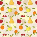 Vector seamless pattern fresh summer fruits hand drawn apple cherry pear in line art style elements for your design Royalty Free Stock Image