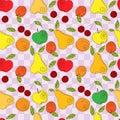 Vector seamless pattern - fresh summer fruits Royalty Free Stock Photo