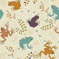 Vector Seamless Pattern with Frogs Royalty Free Stock Photo