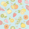 Vector seamless pattern with fruits and berries pastel different Stock Photos