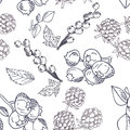 Vector seamless pattern with fruits. Blueberry, blackberry and currant background. Hand drawn elements Royalty Free Stock Photo