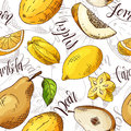 Vector seamless pattern with fruits. Carambola and melon and pear and lemon background. Hand drawn elements.