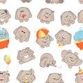 Vector seamless pattern funny cartoon elephants.