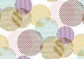 Vector seamless pattern with gold glitter textured circles and stripes.