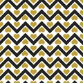 Vector seamless pattern with gold hearts and black zigzag lines.