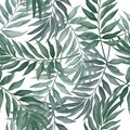 Vector seamless pattern with green leaves in watercolor style on white background