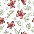 Vector seamless pattern of green palm tree leaves with red flowers on white background