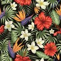 Vector seamless pattern of green tropical leaves with plumeria, strelitzia and hibiscus flowers on black background