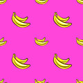 Vector seamless pattern with hand drawn bananas on a pink background.