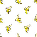 Vector seamless pattern with hand drawn bananas on a white background.