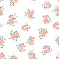 Vector seamless pattern of hand-drawn children`s alphabet decorated with flowers. 3D doodle letters. ABC font background