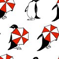 Hand drawn penguins pattern Royalty Free Stock Photo