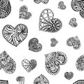 Vector seamless pattern from hand drawn doodle hearts