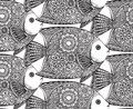 Vector seamless pattern with Hand drawn fish Royalty Free Stock Photo