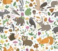 Vector seamless pattern with hand drawn flat funny animals. Cute repeat background with forest creatures. Sweet woodland ornament