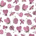 Vector seamless pattern with hand drawn flat funny insects. Cute repeat background with purple cater butterflies, moths,