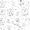 Vector seamless pattern with hand-drawn funny cute fat animals. Silhouettes of animals on a white background. Fun texture witn