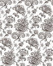 Vector seamless pattern with hand drawn Henna design floral elem